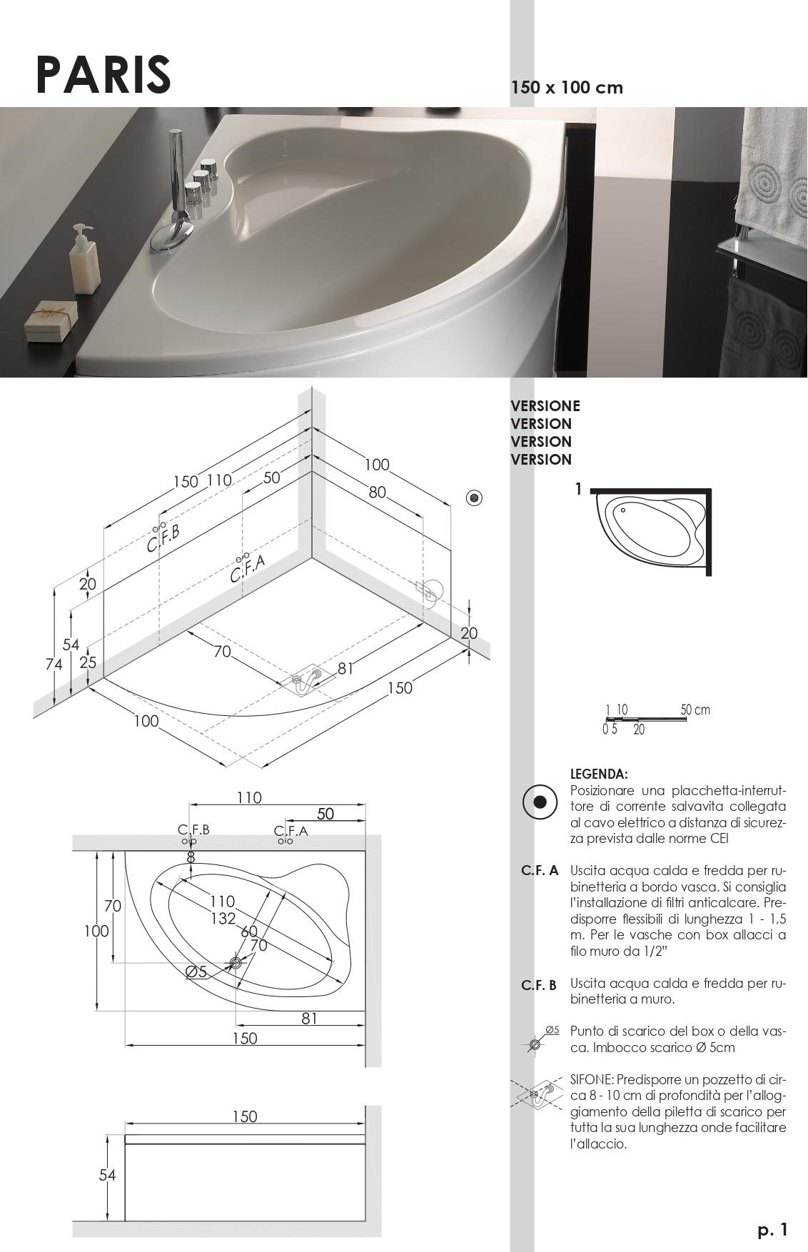 Vasca Da Bagno 150x100 Mod Paris Ceramiche De Paola